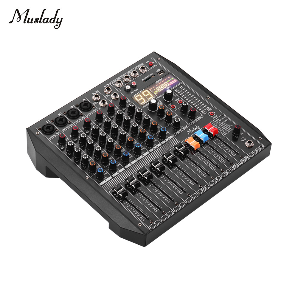 Muslady ER-800 Mixing Console With Built-in 99 DSP Effects 48V Phantom Support Bluetooth Connection For Recording Webcast DJ