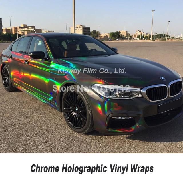 最高品質クロームホログラフィックラッピングフラップシルバー黒ホログラムクロムラッピングフィルム低初期タック接着剤
