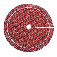 100cm New Plaid Christmas Tree Skirt Xmas for Holiday Decorations