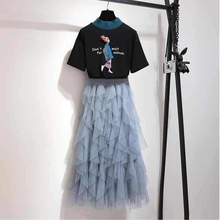 2019 zestaw damski dwa kawałki kobiet o neck t-shirty z krótkim rękawem i mesh plisowana spódnica 2 sztuka