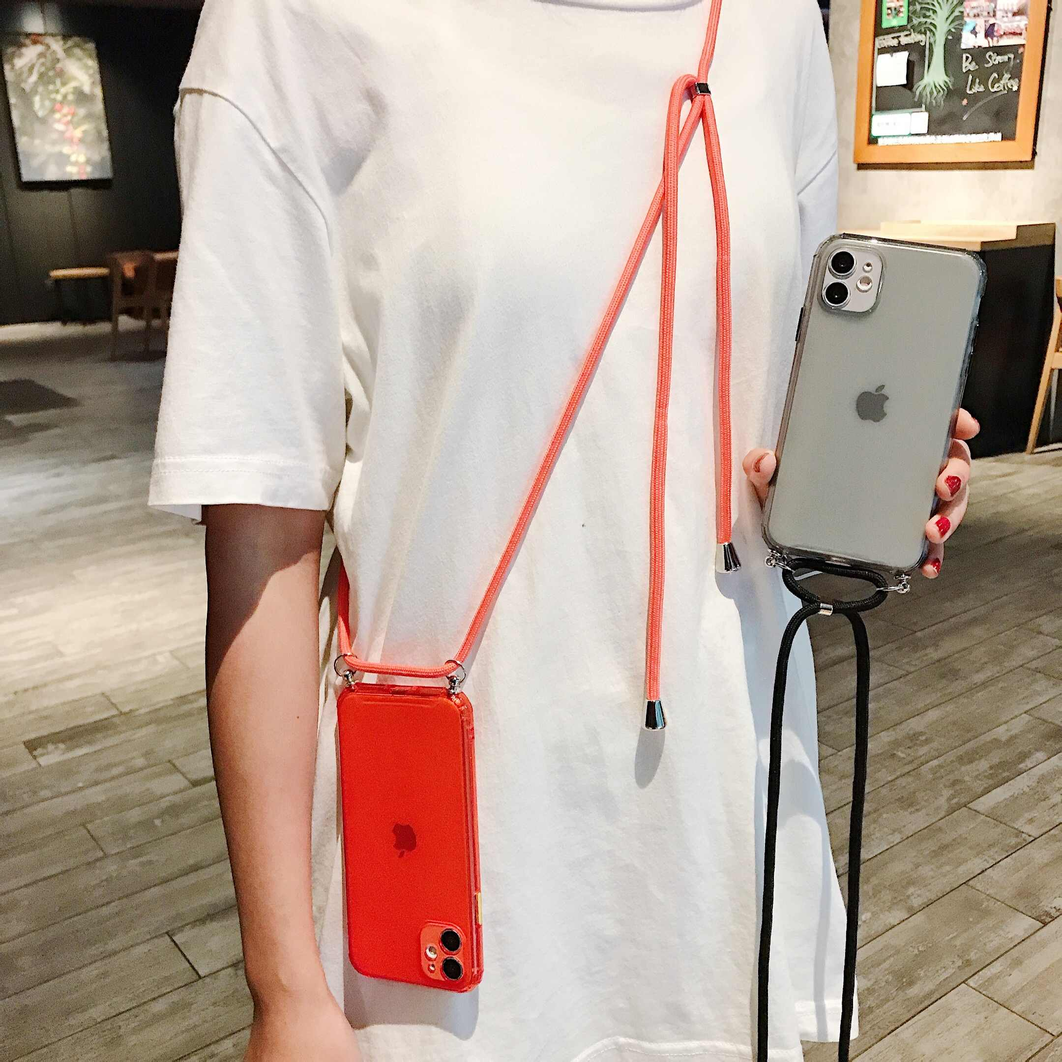 Чехол с цепочкой для iPhone 11Pro 7 8 6 6S Plus XR XS Max X, конфетный цвет, ленточный ремешок, цепь, висячий чехол для iPhone 11