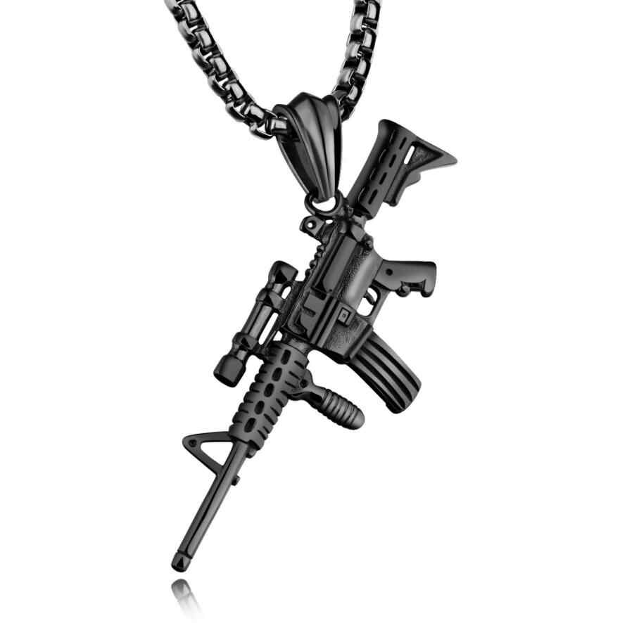 Cool Gothic Hip Hop Kolye GUN Cross Shape Pendant Necklace Silver/Gold/Black Color Army Style Male Chain Men Necklaces  Jewelry