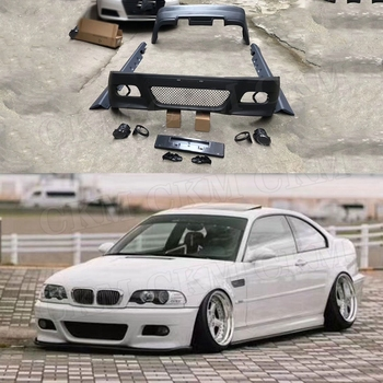 High Qualiy PP Unpainted Front Bumper Spoiler Rear Bumper Lip Side Skirts Aprons For BMW E46 M3 Style Body Kits