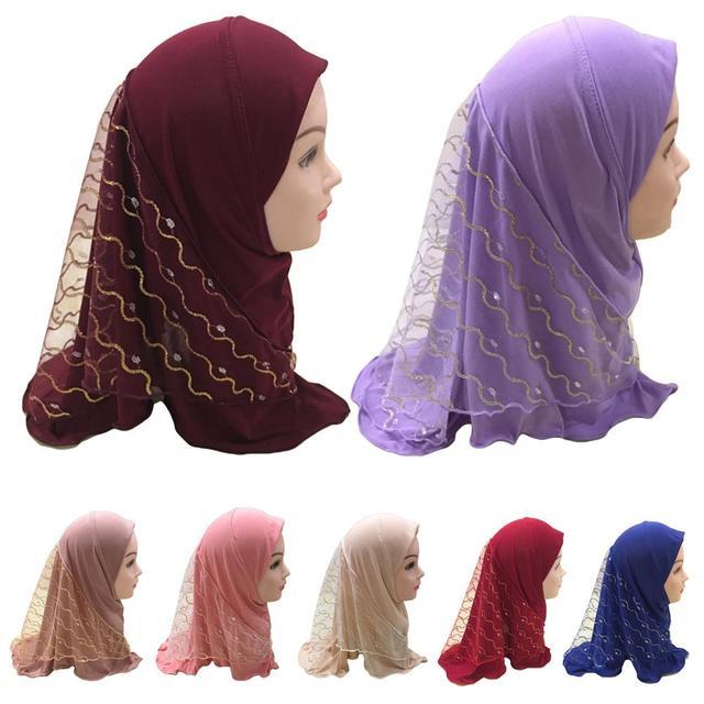2019 Meisjes Kids Moslim Pretty Hijab Islamitische Arabische Sjaal Sjaals Bloem Patroon Hoofddoek Kinderen Sjaals Wrap Hoofddeksels Caps Amira