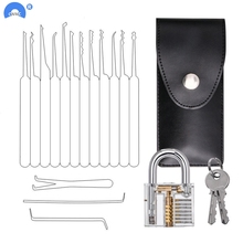 цена на Locksmith Hand Tools Lock Pick Set Transparent Visible Cutaway Practice Padlock With Broken Key Removing Hooks 15pcs/24pcs