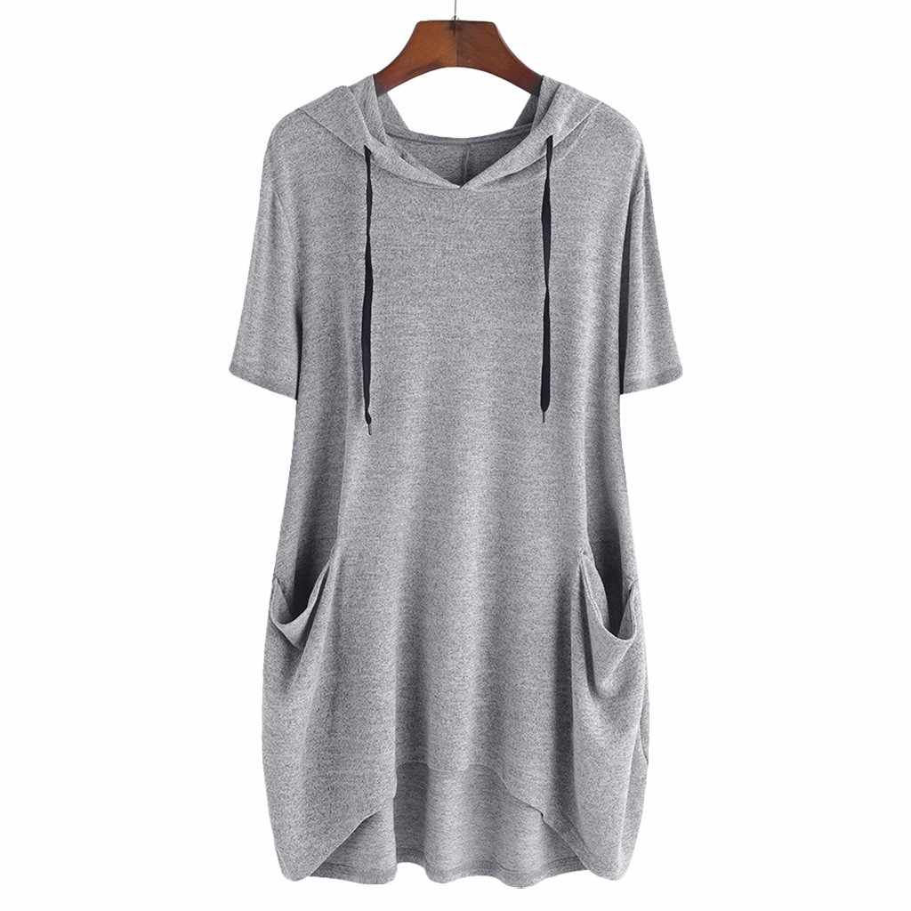 Women hoodies blouse Solid Shirt Plus Size Lady Fashion Women Casual Solid Cat Ear Hooded Short Sleeves Pocket Top Shirts Tee