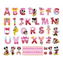 Disney Minnie ABC English Alphabet cartoon funny letters wall stickers kids room decoration nursery mural art home decals