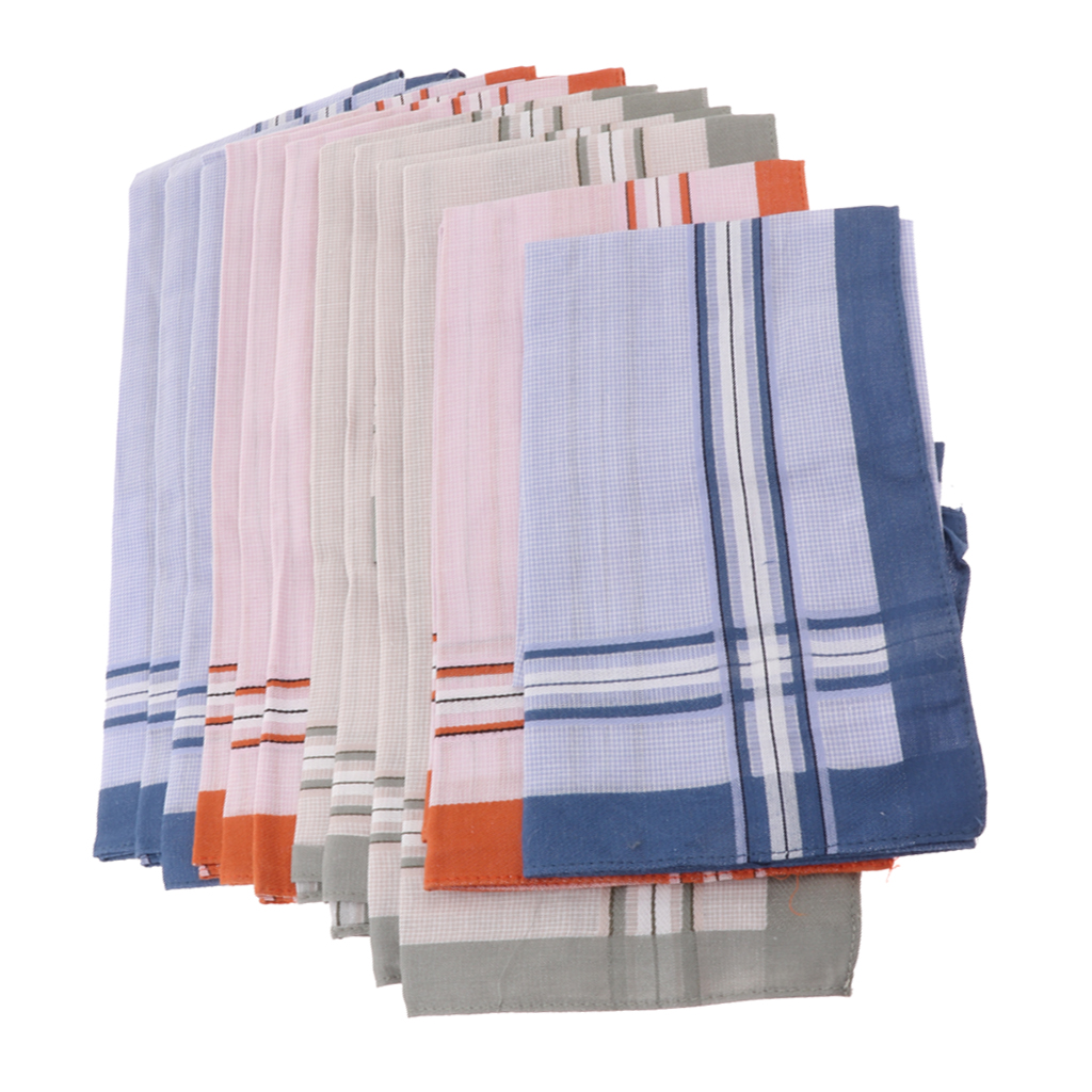 12pcs/set Men Vintage Square Hankerchief Plaid Hanky Wedding Party Handkerchiefs