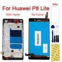 LCD para Huawei P8 Lite LCD Touch ALE L04 L21 pantalla LCD Panel + pantalla táctil digitalizador Sensor de cristal marco de montaje