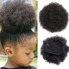 Короткий пучок из синтетических волос в стиле афро шиньон для