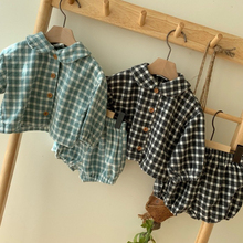 Baby Clothing Sets 2 pcs Girls Clothes Set Todder Girls Plaid Full Sleeve Shirt and Bloomer