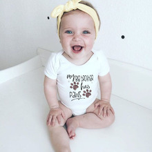 Baby Bodysuit Onesie Romper Outfits Short-Sleeve Girl Cotton My Big Has-Paws Funny Printed
