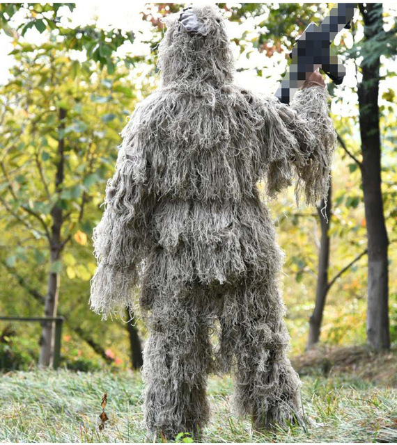 3D Camouflage Suits Woodland Clothes Wargame Paintball Airsoft Ghillie Suit Adults Kid Hunting Army Military Tactical Sniper Set 6