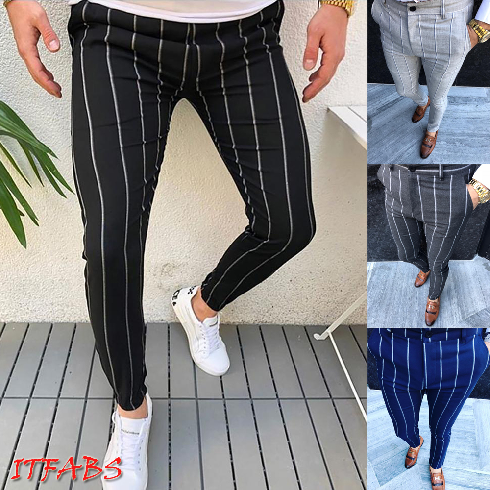 New Plus Size Mens England Retro Dress Pants Formal Plaid Stripe Pants Casual Trouser