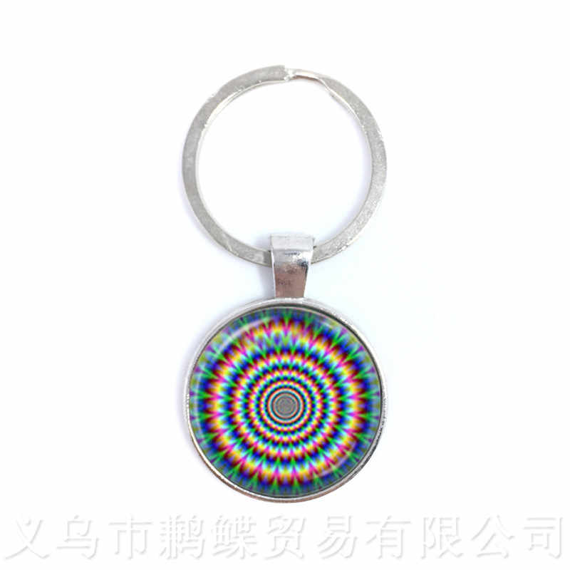 Beautiful Peacock Feathers Keychains Mandala Glass Cabochon Buddhism Pendant For Children Men Women Creative Gift Keyring