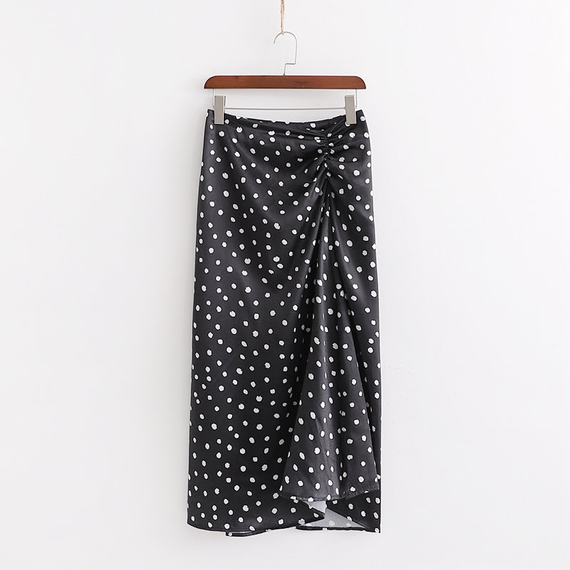 Cxd-2572 Women's Dress New Products Polka Dot Printed Satin Textured Skirt