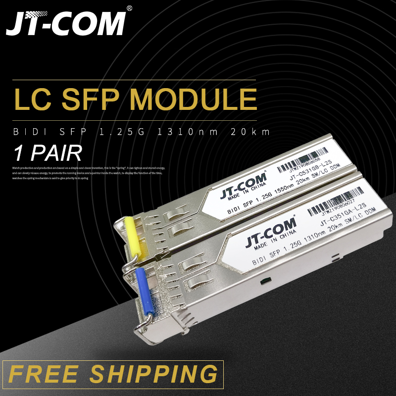 1Pair 1.25G SM BiDi LC Gigabit SFP Module 1310nm/1550nm 3-80km Fiber Optic Transceiver sfp switch Compatible with Mikrotik/Cisco