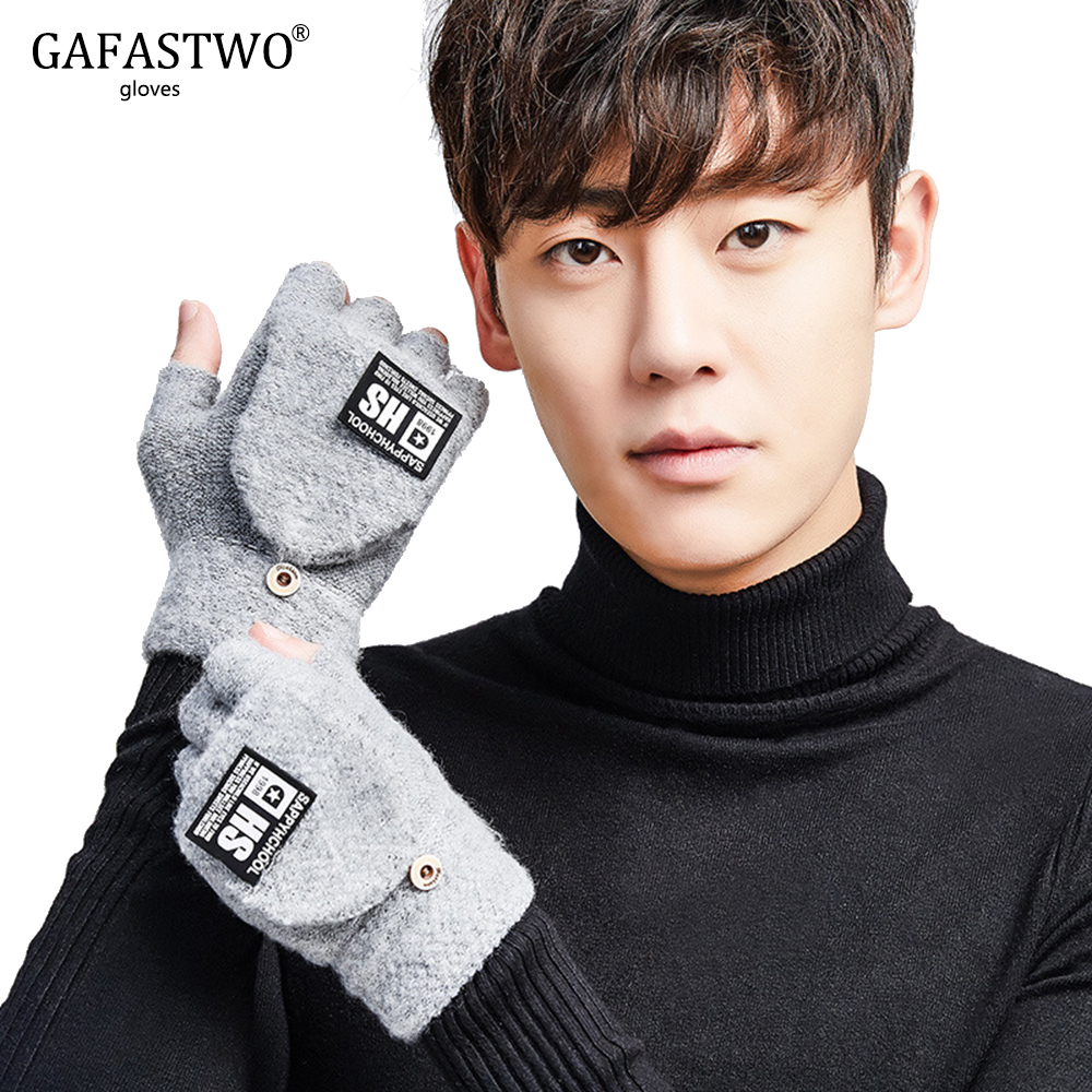 2019 Winter New Mens Knit Wool Korean Version Of The Half Finger Gloves Flip Students Thick Warm Riding Gloves