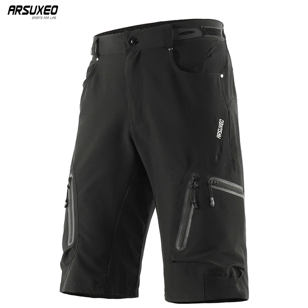 ARSUXEO Men's Outdoor Sports Cycling Shorts MTB Downhill Trousers Mountain Bike Bicycle Shorts Water Resistant Loose Fit 1202