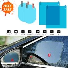 2Pcs Car Rear Mirror Protective Film Anti Fog Window Clear Rainproof Rear View Mirror Protective Soft Film Anti-glare Clear Film