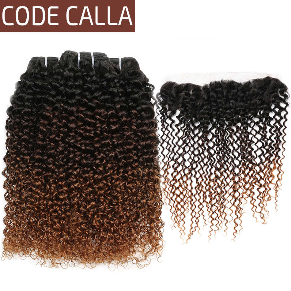 Code Calla Indian Verworrenes Lockiges Menschliches Haar Bundles Raw Reines Lockiges Menschliches Haar Bundles Mit 13*4 Spitze Frontal ombre Braun Farbe
