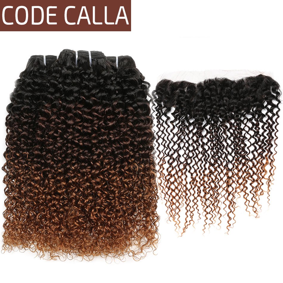 Kinky Curly Hair Bundles With Frontal Brazilian Ombre Curly Weave Human Hair Bundles With 13*4 Lace Frontal Code Calla Hair