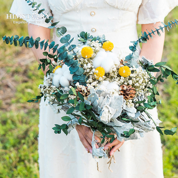 HIMSTORY Handmade Dry Gypsophila Flower Bouquet Natural Dried Wedding Bridal Bridalmaid Hold