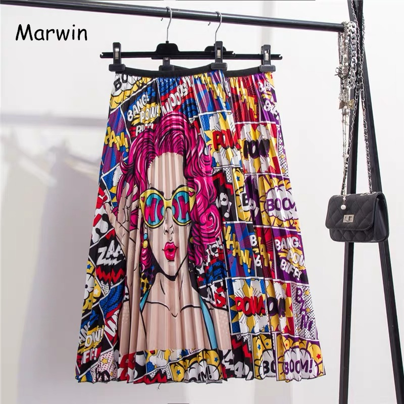 Marwin 2019 New-Coming Spring Summer Printing Cartoon Pattern Empire High Elastic Women Skirt Party Holiday High Street Style
