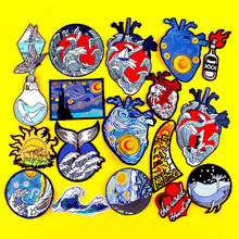 Kanagawa/Heart Patch Iron On Patches On Clothes Punk Patch Embroidered Patches For Clothing Van Gogh Patch Stickers On Clothes prajna van gogh patch military biker patch punk applique iron on embroidered patches for clothes stripes stickers on clothes diy