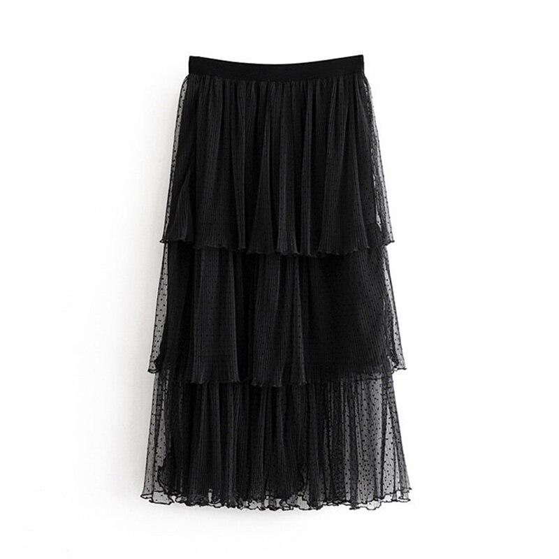 Women Chic Sexy Lace Mesh Skirt 2019 Multi Layered Ruffled Ladies Midi Skirts Casual Elastic Waist Elegant Straight Skirt