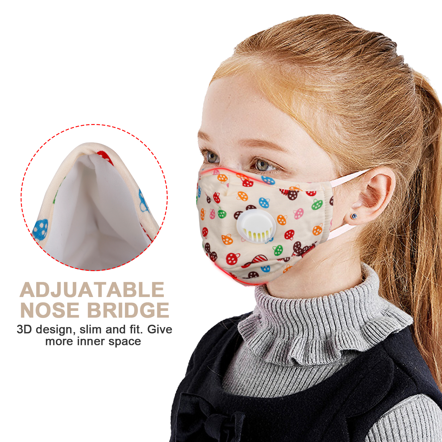 PM2.5 Mask Vertical Folding Nonwoven Fabric Mask With 10 Filters FOR Adults/Child With Dust Valve Mouth Masks