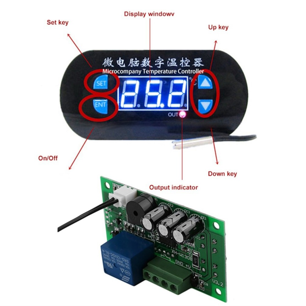 ЖК-дисплей AC/DC12V Цифровой термостат регулятор температуры сигнализации датчик измеритель температуры Регулятор