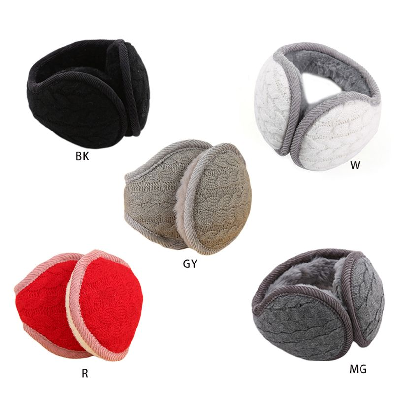 Women Men Wavy Stripes Knitted Winter Foldable Earmuffs Thicken Plush Ear Warmer High Quality And Brand New