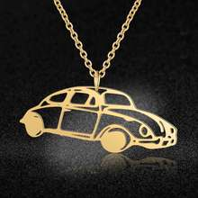 100% Stainless Steel Vintage Car Fashion Necklace for Women Personality Jewellery Wholesale Unique Design Pendant Necklaces(China)