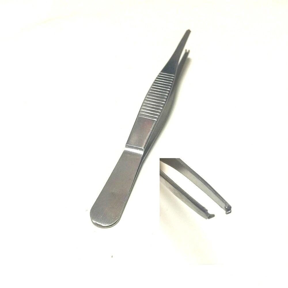 Pinças de aço inoxidável 12.5 cm cirúrgica casa organização tecido pinças resistente ao calor médico vestir pinças gancho 1*2