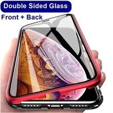 360 magnetyczne metalowe etui na telefon dla iphone 7 8 6 Plus dwustronnie szkło dla iphone X XR XS MAX 6 6S plus osłona z hartowanego szkła 9H