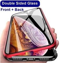 Funda de teléfono de Metal magnético 360 para iphone 7 8 6 Plus vidrio lateral doble para iphone X XR XS MAX 6 funda de vidrio templado 6S plus 9H
