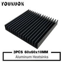 цена на 3PCS YOUNUON 60x60x10mm Black DIY Cooler Aluminum Heatsink Radiator Heat Sink Chip for IC LED Power Transistor 60*60*10mm