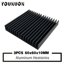 3PCS YOUNUON 60x60x10mm Black DIY Cooler Aluminum Heatsink Radiator Heat Sink Chip for IC LED Power Transistor 60*60*10mm