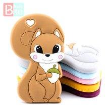 10pc bebê silicone mordedor esquilo grau alimentício silicone roedor pingente para chupeta bebê bens mordedores para dentes bpa livre