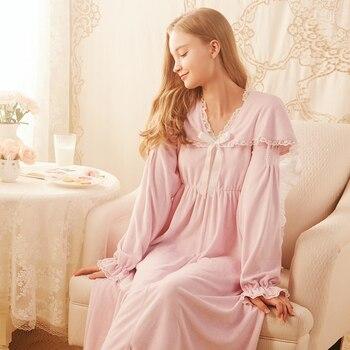 Nightgown Flannel Ladies Long Sleeve Winter Nightdress Lovely Elegant Sleepwear Princess Women