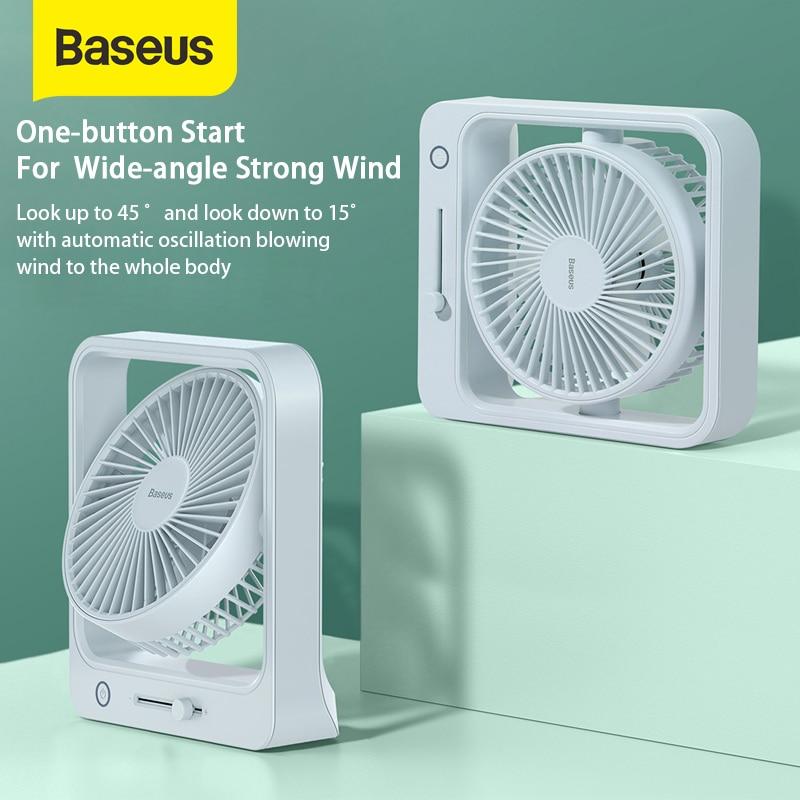 Baseus Cube Shaking Fan 5400mAh Portable Fans For Office Desktop Desk USB Fan Summer Cooler Cooling