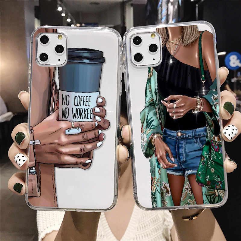 Geschenken Mode Meisjes Schoenen Koffie Parijs Hoge Hells Voor Iphone 11 Pro 7Plus 7 6S 8 8Plus X Xs Max Xr Soft Clear Telefoon Case Cover