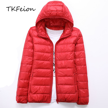 2018 Womens Autumn Jackets Fashion Ultra-thin with Hooded Ladies Slim Coats Plus Size 4XL 5XL 6XL 90% Duck Down Female Tops Coat