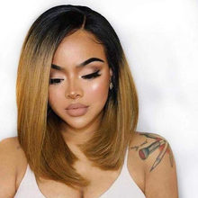 Ombre Short Bob Full Lace Human Hair Wigs For Black Women Silky Straight 1B/30 Two Tone Color Free Part 180% Density(China)