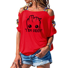 women Star Wars Anime baby pop groot Summer funny I AM GROOT T Shirt Cool Tops Tee Sexy Hollow Out Shoulder Tshirt Plus Size
