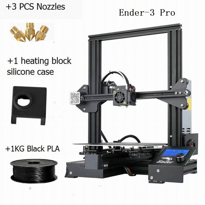 CREALITY 3D impresora Ender 3Pro DIY Kit v slot gran tamaño regalo boquillas y bloque calefactor funda de silicona + PLA - 6