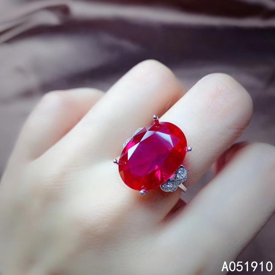 KJJEAXCMY boutique jewelry 925 sterling silver inlaid Red corundum gemstone female ring trendy popular