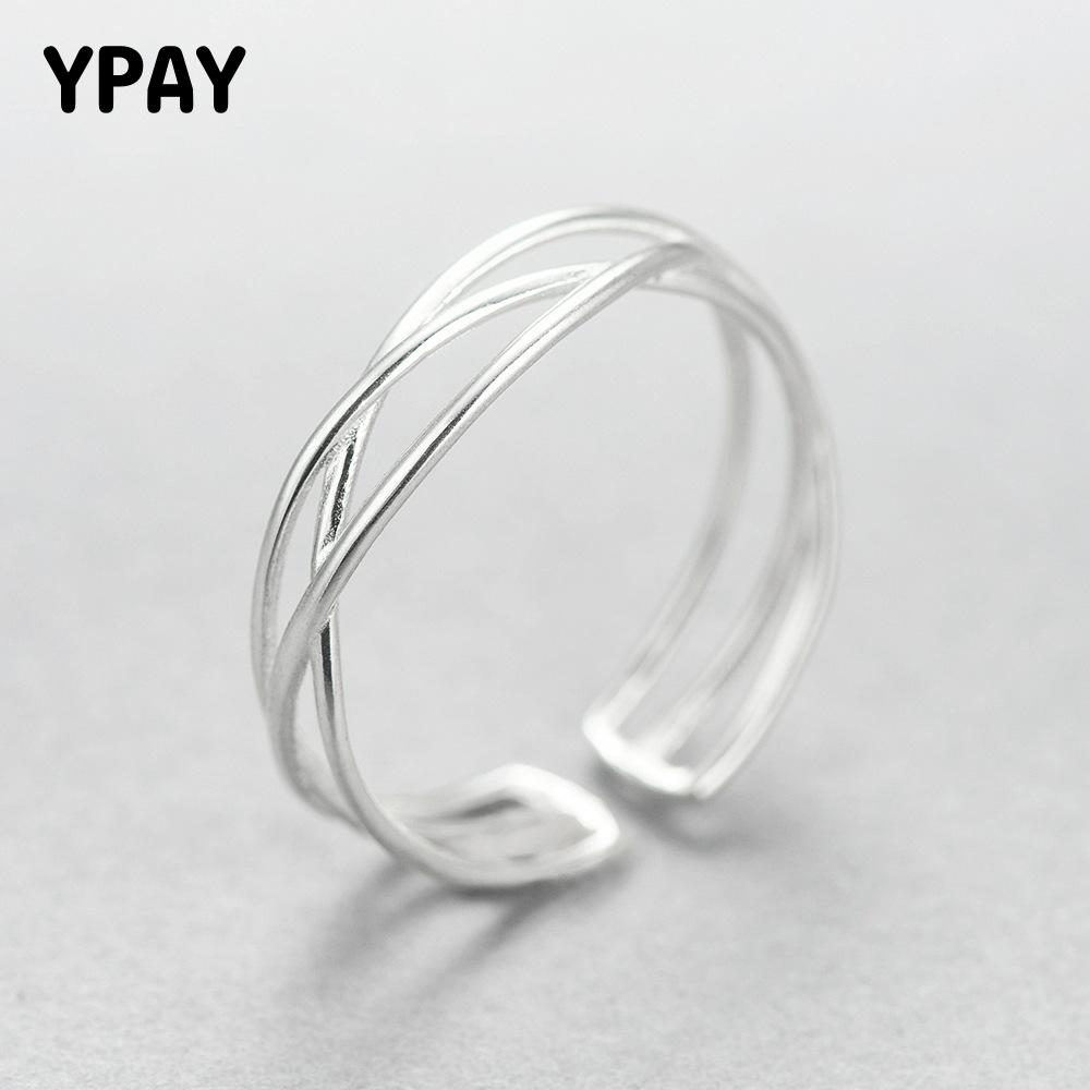 YPAY 100% Genuine 925 Sterling Silver Line Winding Shape Open Rings For Women Creative Design Lady Fine Jewelry Gifts YMR003