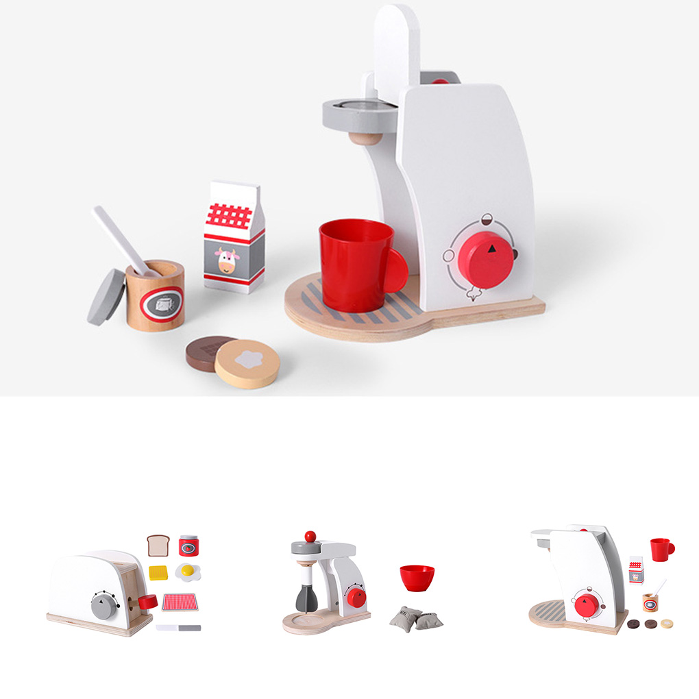 Kids Wooden Pretend Play Sets Simulation Toasters Kitchen  Bread Maker Coffee Machine Blender Baking Kit Game Mixer Role Toy